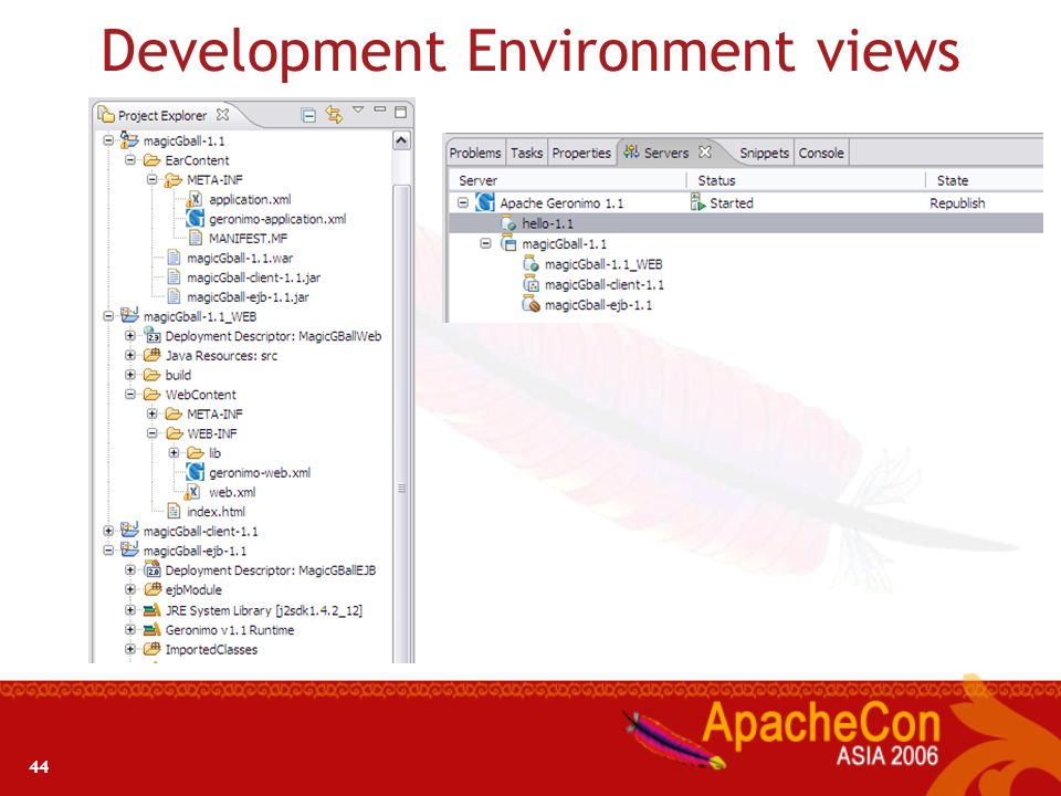 43 Development Environment Development Tools Eclipse plug-in for creating, deploying, and debugging Geronimo applications Plug-in provides integration