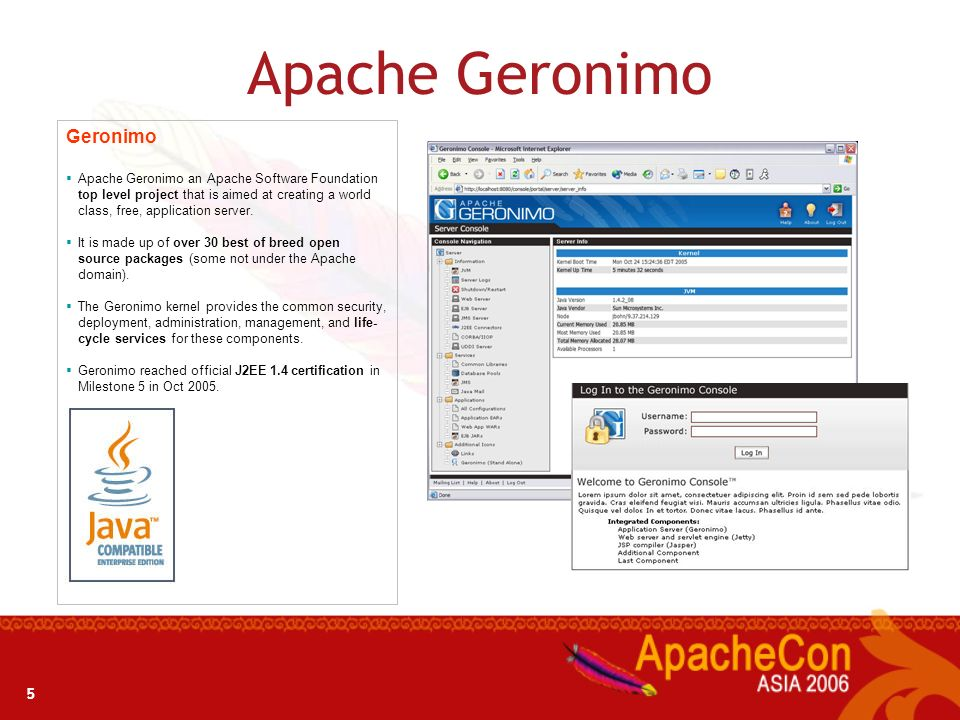 4 What is Apache Geronimo? Open source J2EE application server project developed by the Apache Software Foundation. Benefits from the efforts of colla