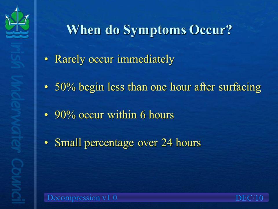 Decompression v1.0 When do Symptoms Occur.
