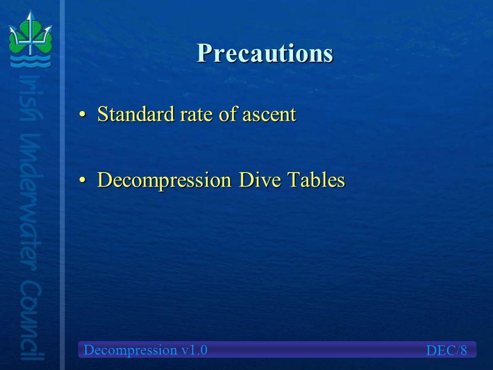 Decompression v1.0 Precautions Standard rate of ascentStandard rate of ascent Decompression Dive TablesDecompression Dive Tables DEC/8