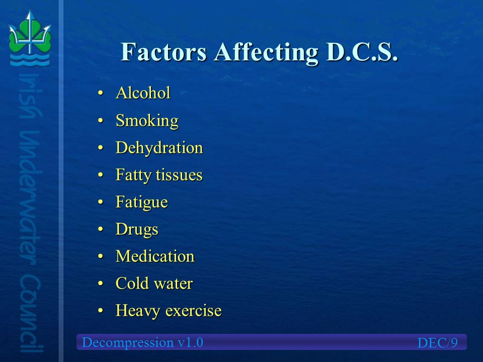 Decompression v1.0 Factors Affecting D.C.S. DEC/9 AlcoholAlcohol SmokingSmoking DehydrationDehydration Fatty tissuesFatty tissues FatigueFatigue Drugs