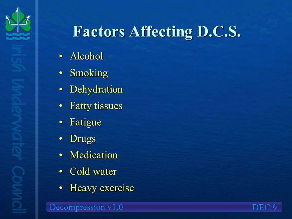 Decompression v1.0 Factors Affecting D.C.S.