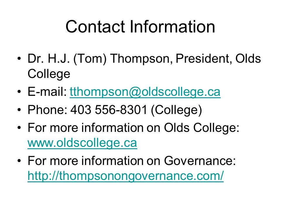 Contact Information Dr. H.J.