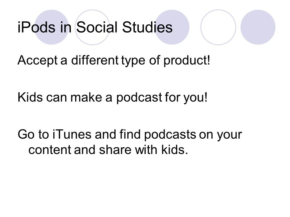 iPods in Social Studies Accept a different type of product.