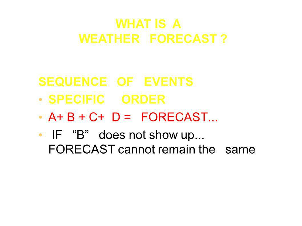 SEQUENCE OF EVENTS SPECIFIC ORDER A+ B + C+ D = FORECAST...