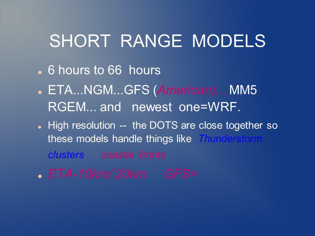 SHORT RANGE MODELS 6 hours to 66 hours ETA...NGM...GFS (American)...