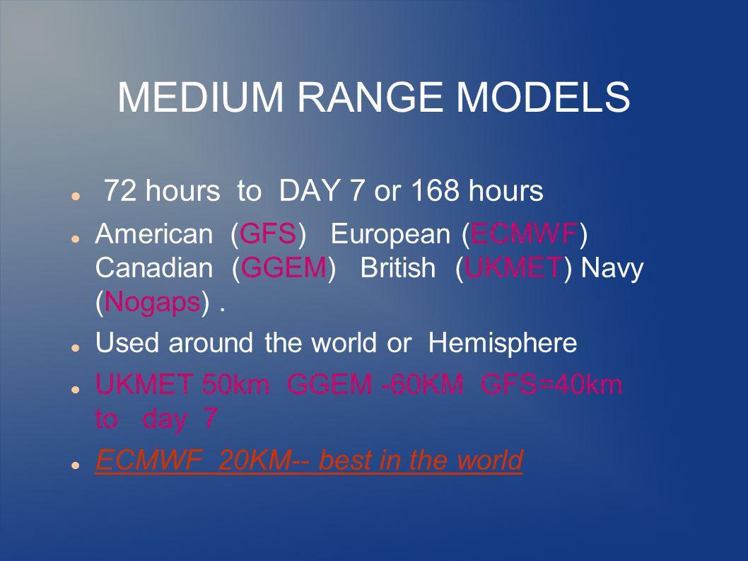 MEDIUM RANGE MODELS 72 hours to DAY 7 or 168 hours American (GFS) European (ECMWF) Canadian (GGEM) British (UKMET) Navy (Nogaps).