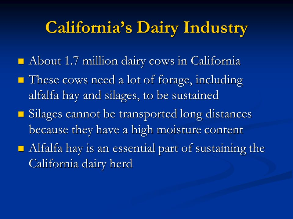 Californias Dairy Industry About 1.7 million dairy cows in California About 1.7 million dairy cows in California These cows need a lot of forage, incl