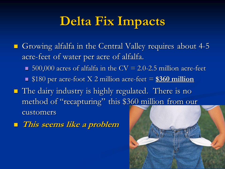 Delta Fix Impacts Growing alfalfa in the Central Valley requires about 4-5 acre-feet of water per acre of alfalfa. Growing alfalfa in the Central Vall