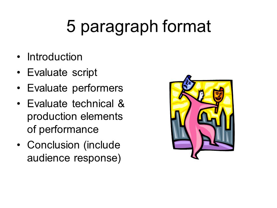 5 paragraph format Introduction Evaluate script Evaluate performers Evaluate technical & production elements of performance Conclusion (include audience response)