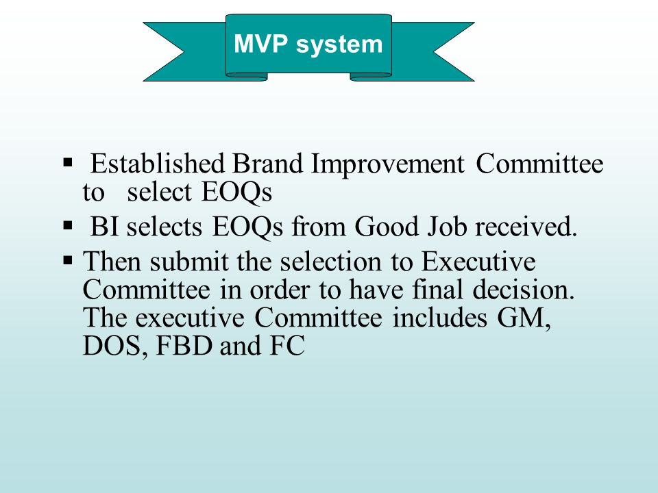 MVP system Established Brand Improvement Committee to select EOQs BI selects EOQs from Good Job received. Then submit the selection to Executive Commi