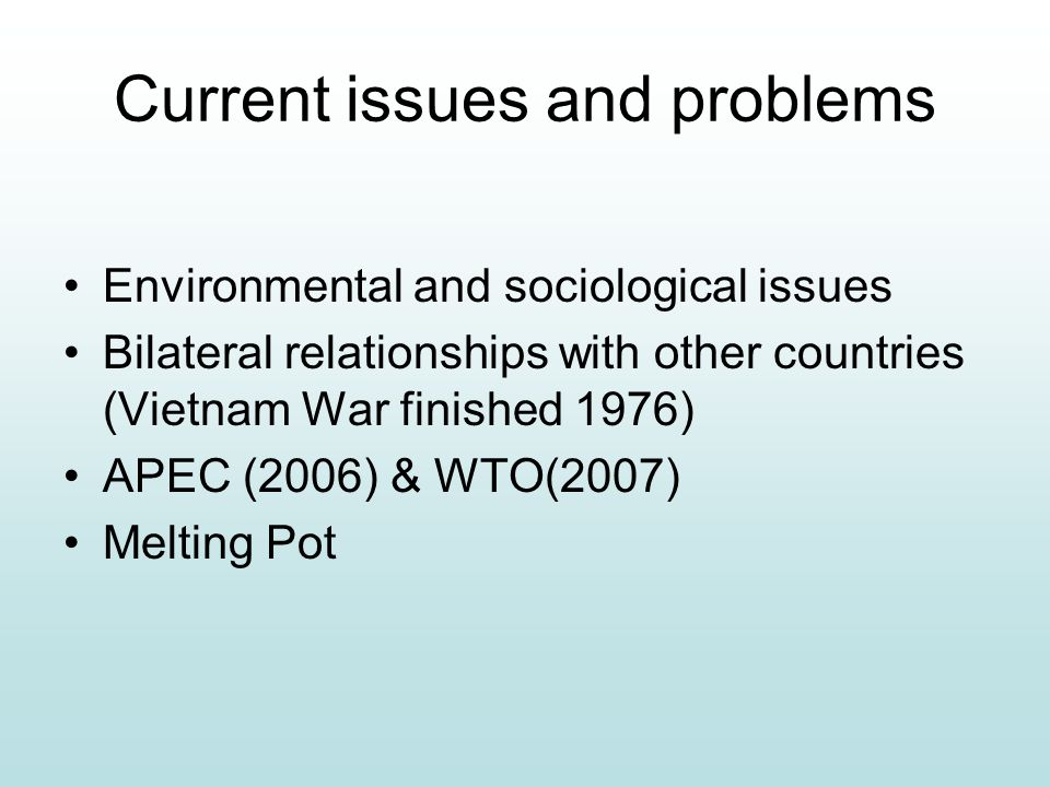 Current issues and problems Environmental and sociological issues Bilateral relationships with other countries (Vietnam War finished 1976) APEC (2006)