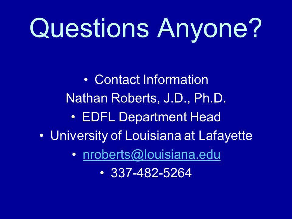 Questions Anyone. Contact Information Nathan Roberts, J.D., Ph.D.