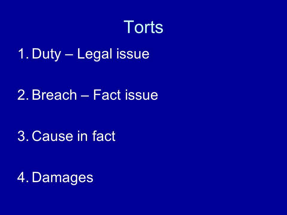 Torts 1.Duty – Legal issue 2.Breach – Fact issue 3.Cause in fact 4.Damages