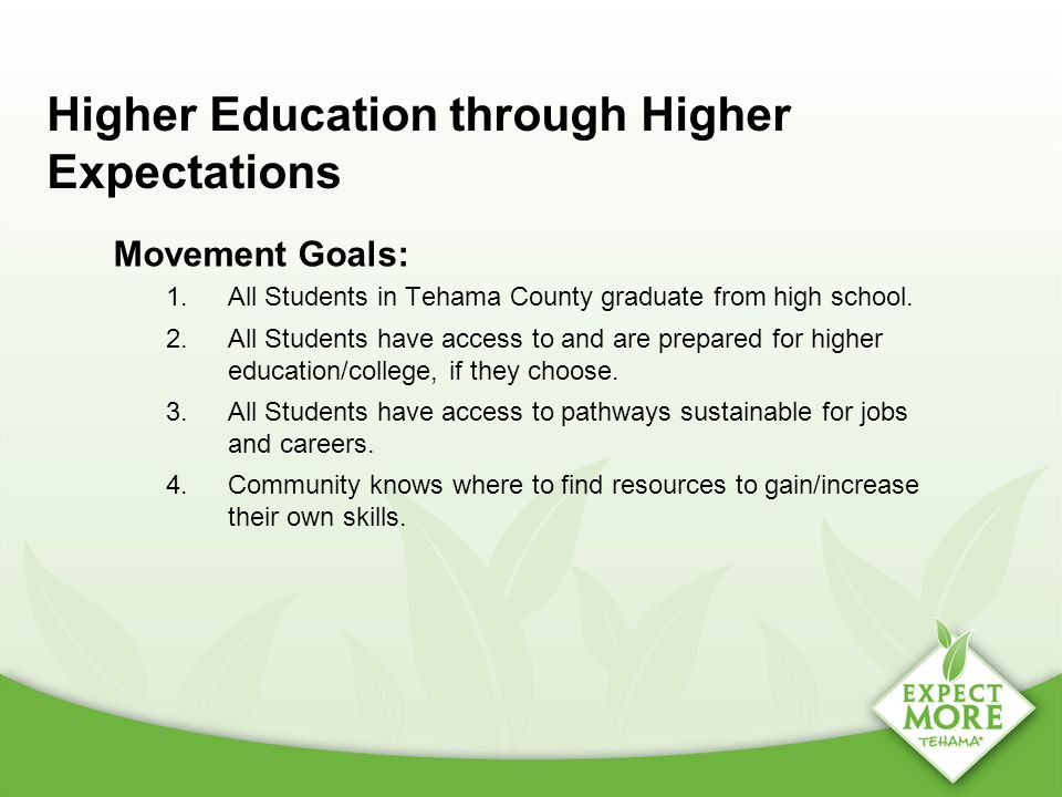 Higher Education through Higher Expectations Movement Goals: 1.All Students in Tehama County graduate from high school. 2.All Students have access to
