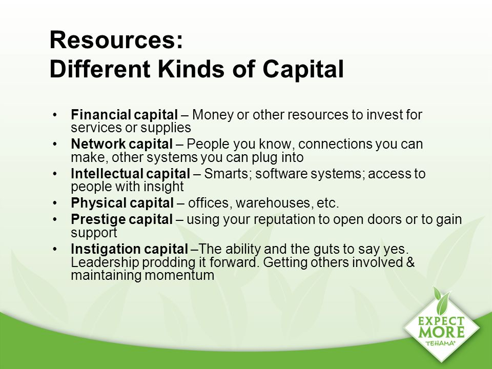 Resources: Different Kinds of Capital Financial capital – Money or other resources to invest for services or supplies Network capital – People you kno