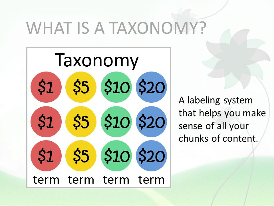 WHAT IS A TAXONOMY A labeling system that helps you make sense of all your chunks of content.