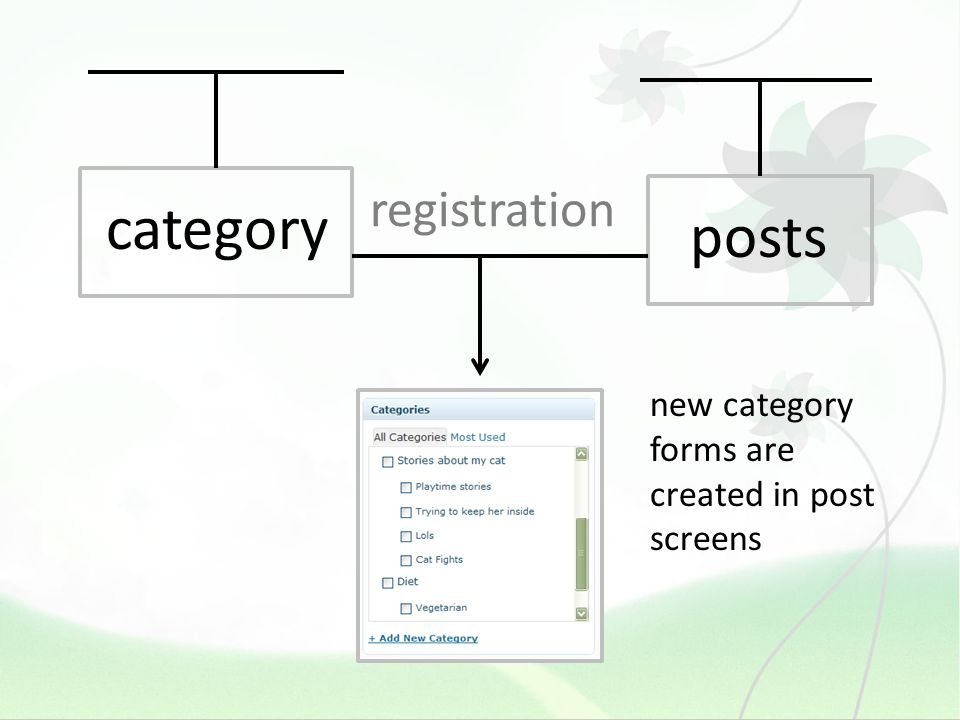 registration category new category forms are created in post screens posts