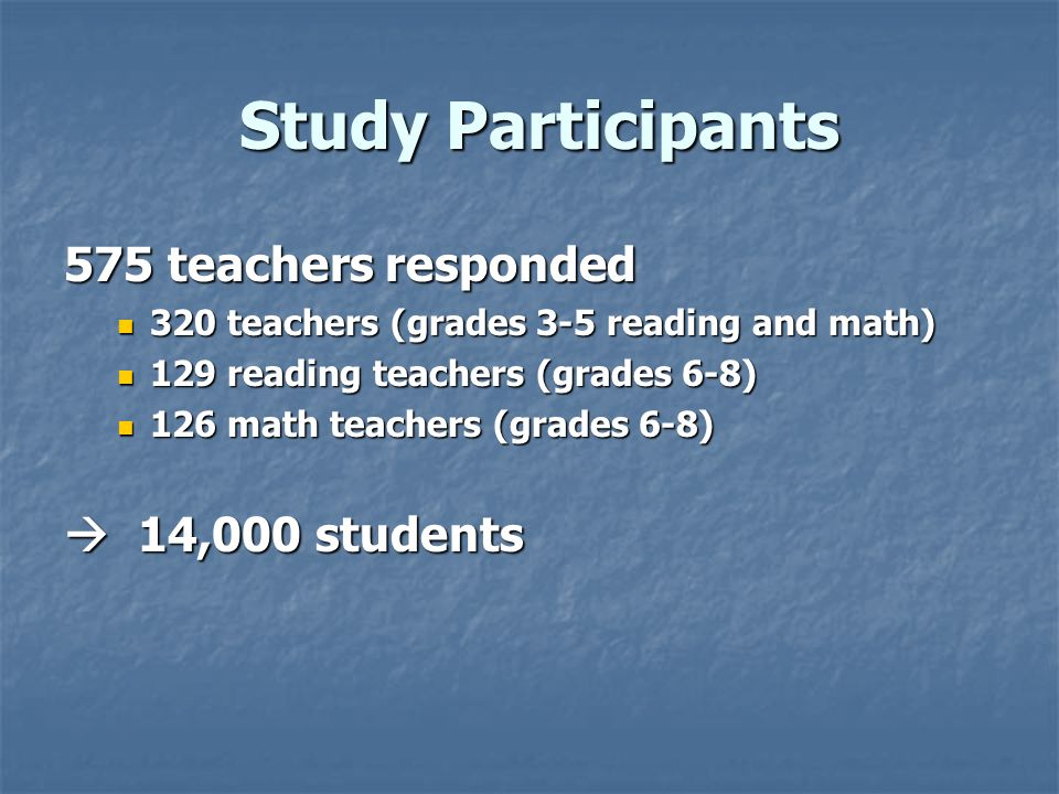 Study Participants Study Participants 575 teachers responded 320 teachers (grades 3-5 reading and math) 320 teachers (grades 3-5 reading and math) 129