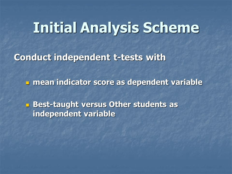Initial Analysis Scheme Conduct independent t-tests with mean indicator score as dependent variable mean indicator score as dependent variable Best-ta