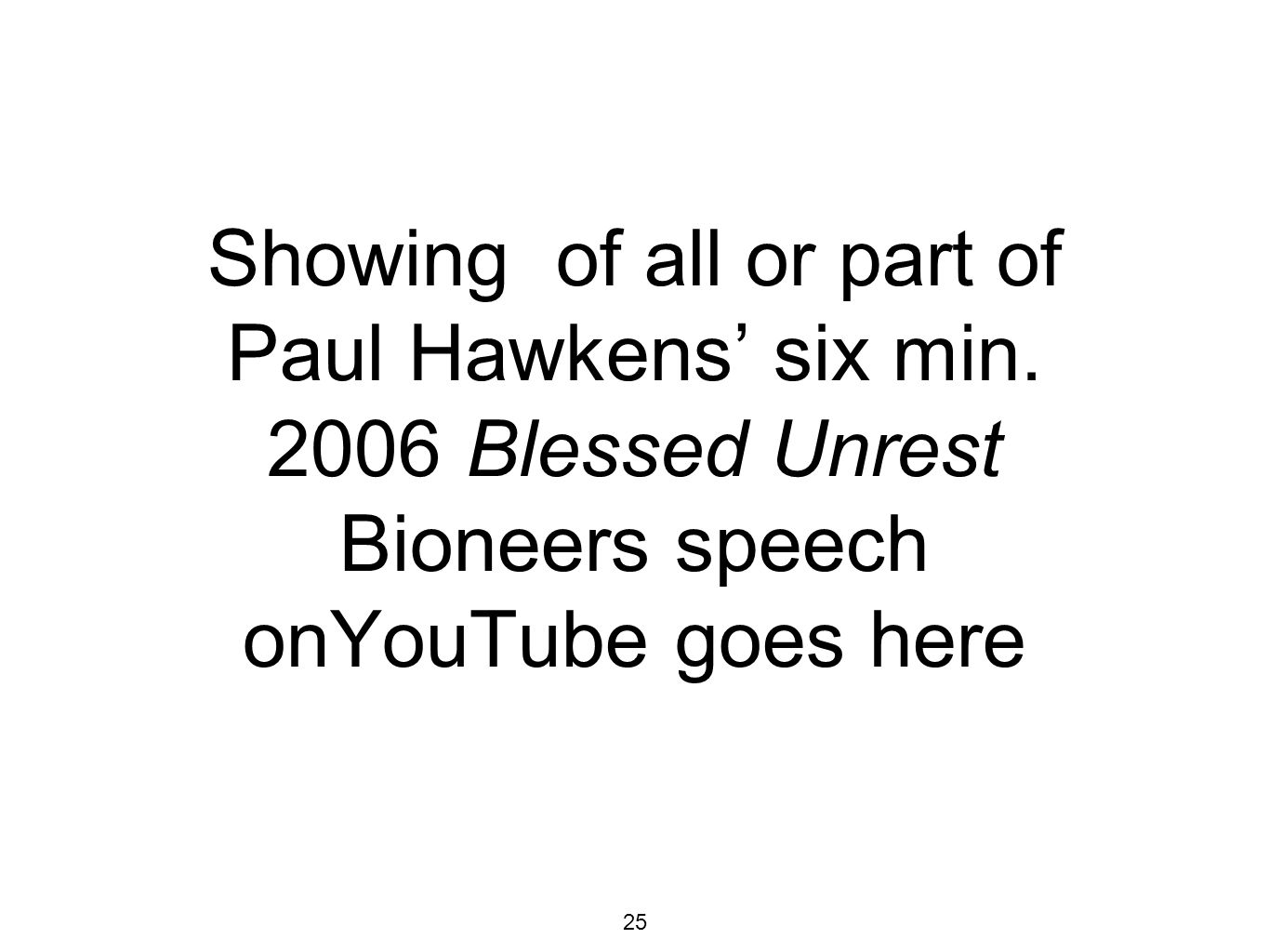 25 Showing of all or part of Paul Hawkens six min.