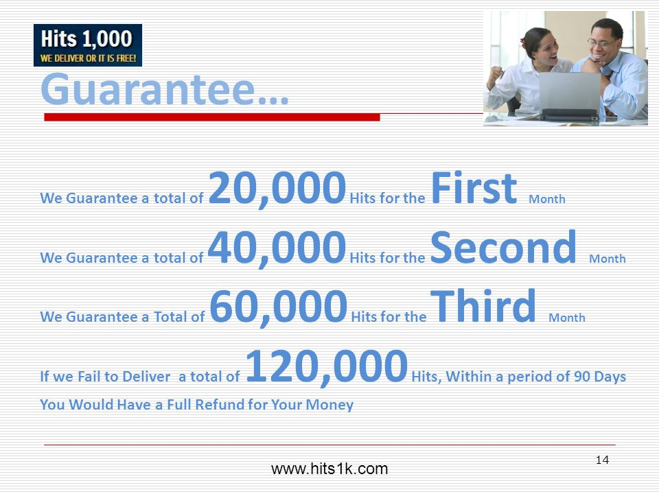 14 Guarantee… We Guarantee a total of 20,000 Hits for the First Month We Guarantee a total of 40,000 Hits for the Second Month We Guarantee a Total of