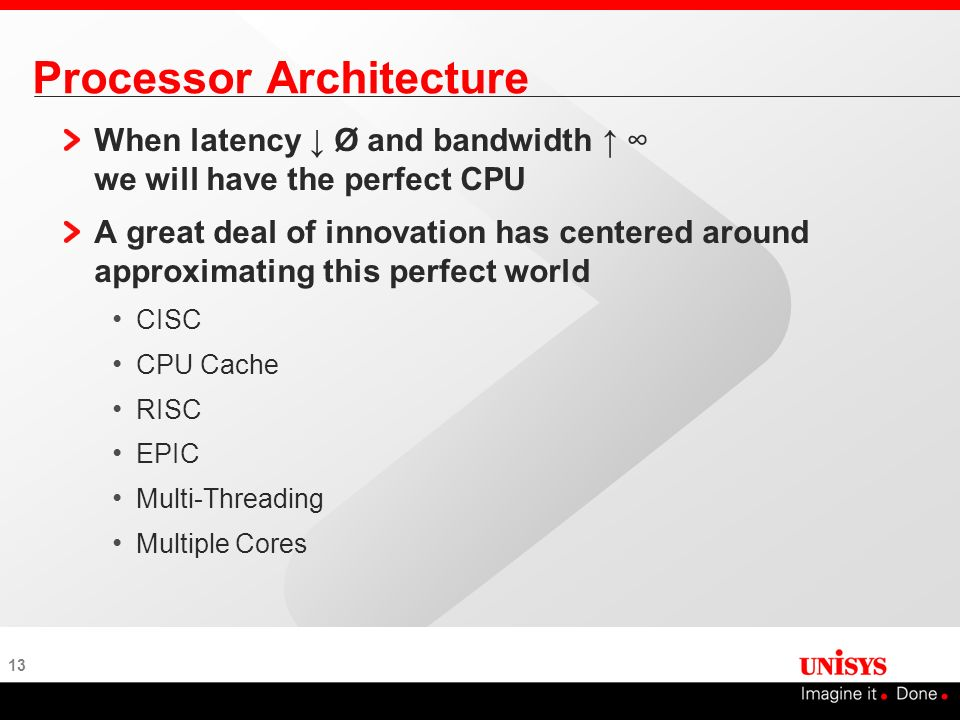 13 Processor Architecture When latency Ø and bandwidth we will have the perfect CPU A great deal of innovation has centered around approximating this