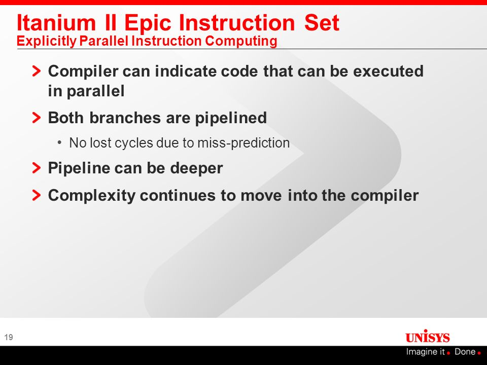19 Itanium II Epic Instruction Set Explicitly Parallel Instruction Computing Compiler can indicate code that can be executed in parallel Both branches