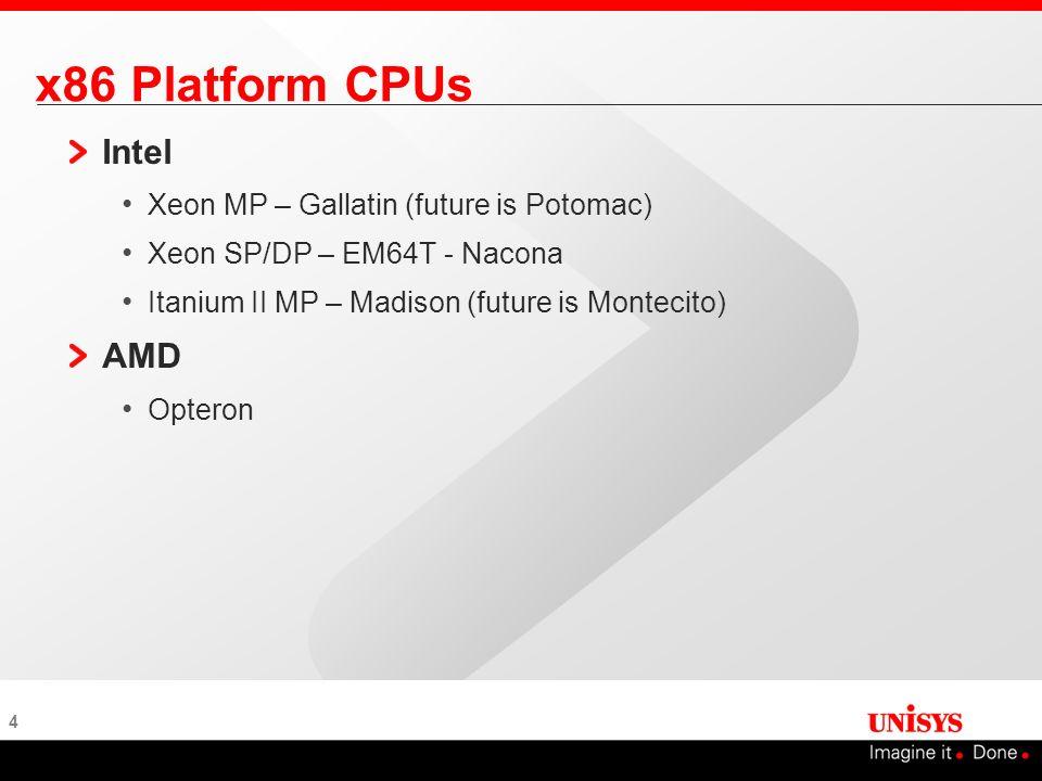 4 x86 Platform CPUs Intel Xeon MP – Gallatin (future is Potomac) Xeon SP/DP – EM64T - Nacona Itanium II MP – Madison (future is Montecito) AMD Opteron