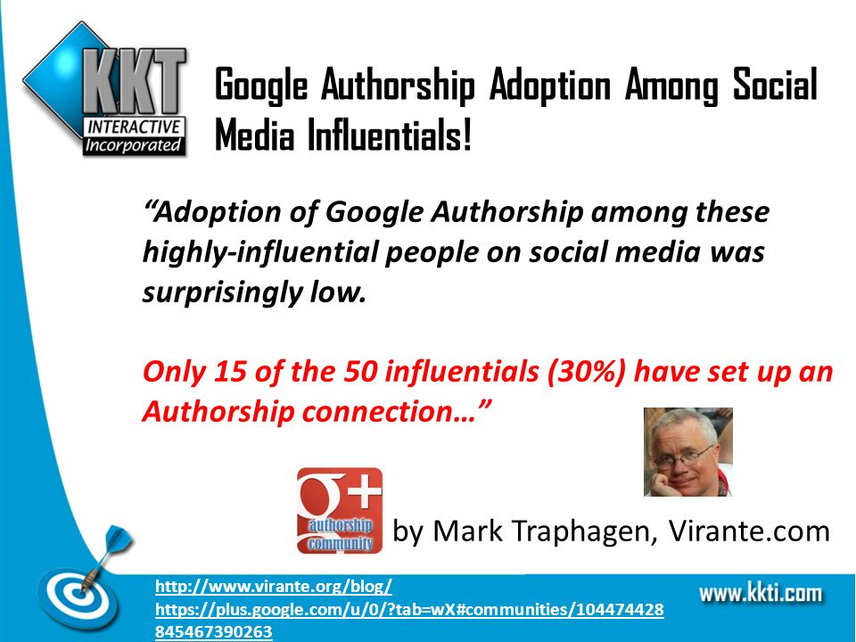 Google Authorship Adoption Among Social Media Influentials! Adoption of Google Authorship among these highly-influential people on social media was su