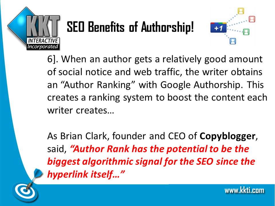 SEO Benefits of Authorship. 6].