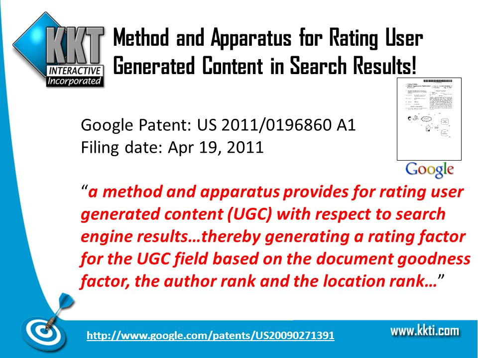 Method and Apparatus for Rating User Generated Content in Search Results.