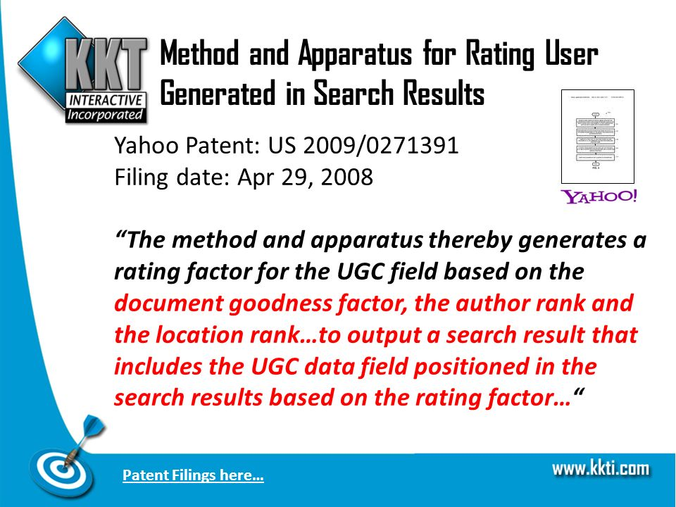 Method and Apparatus for Rating User Generated in Search Results Yahoo Patent: US 2009/0271391 Filing date: Apr 29, 2008 The method and apparatus thereby generates a rating factor for the UGC field based on the document goodness factor, the author rank and the location rank…to output a search result that includes the UGC data field positioned in the search results based on the rating factor… Patent Filings here…