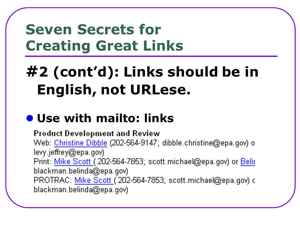 Seven Secrets for Creating Great Links # 2 (contd): Links should be in English, not URLese.