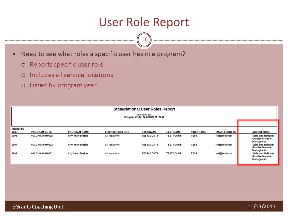 User Role Report 16 11/13/2013 Need to see what roles a specific user has in a program? Reports specific user role Includes all service locations List