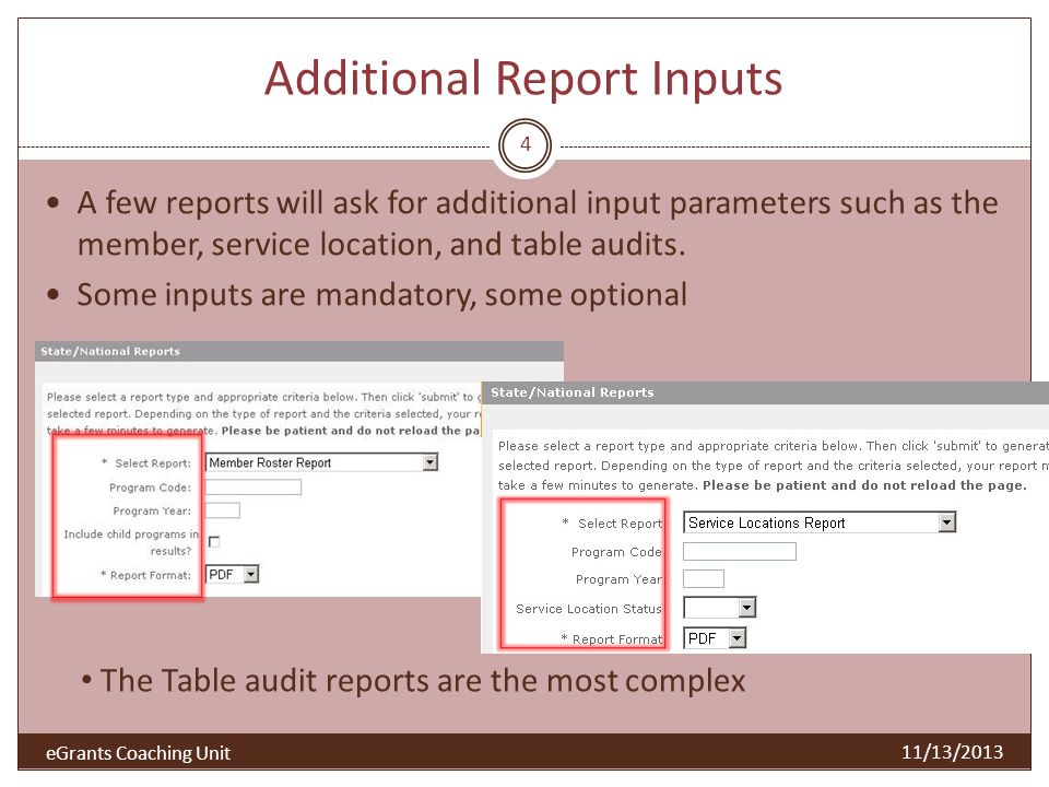 Report output options and benefits 5 11/13/2013 Options PDF Excel HTML CSV (Comma Separated Value) Benefits Professional published look Option to work with data in a spreadsheet Easy to publish to a web page or for viewing inside a browser For use by a wide variety of third party programs Naming the output file (Be sure to change from the default – which is the same for all reports) Patience: Reports take time to generate.