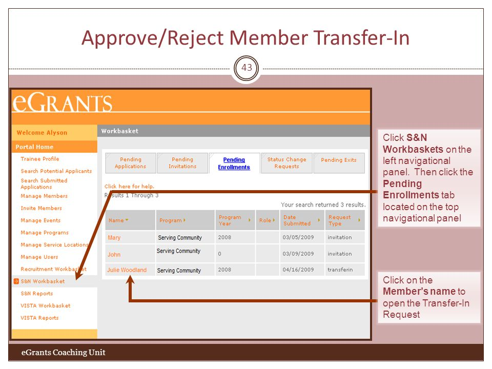 Approve/Reject Member Transfer-In 43 eGrants Coaching Unit Click S&N Workbaskets on the left navigational panel. Then click the Pending Enrollments ta