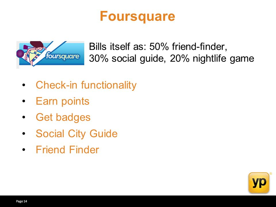 Bills itself as: 50% friend-nder, 30% social guide, 20% nightlife game Check-in functionality Earn points Get badges Social City Guide Friend Finder Foursquare Page 14