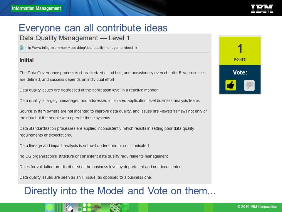 © 2010 IBM Corporation Everyone can all contribute ideas Directly into the Model and Vote on them...