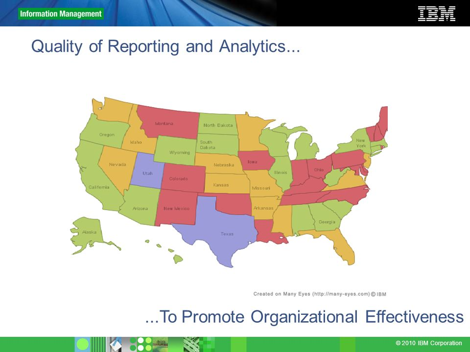 © 2010 IBM Corporation Quality of Reporting and Analytics......To Promote Organizational Effectiveness