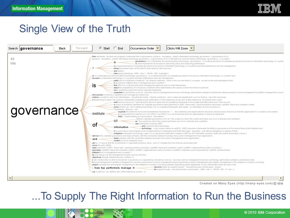 © 2010 IBM Corporation Single View of the Truth...To Supply The Right Information to Run the Business
