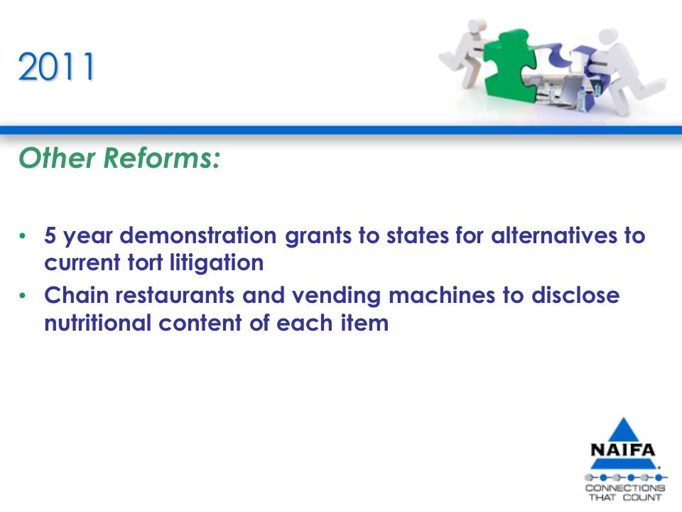 2011 Other Reforms: 5 year demonstration grants to states for alternatives to current tort litigation Chain restaurants and vending machines to disclose nutritional content of each item