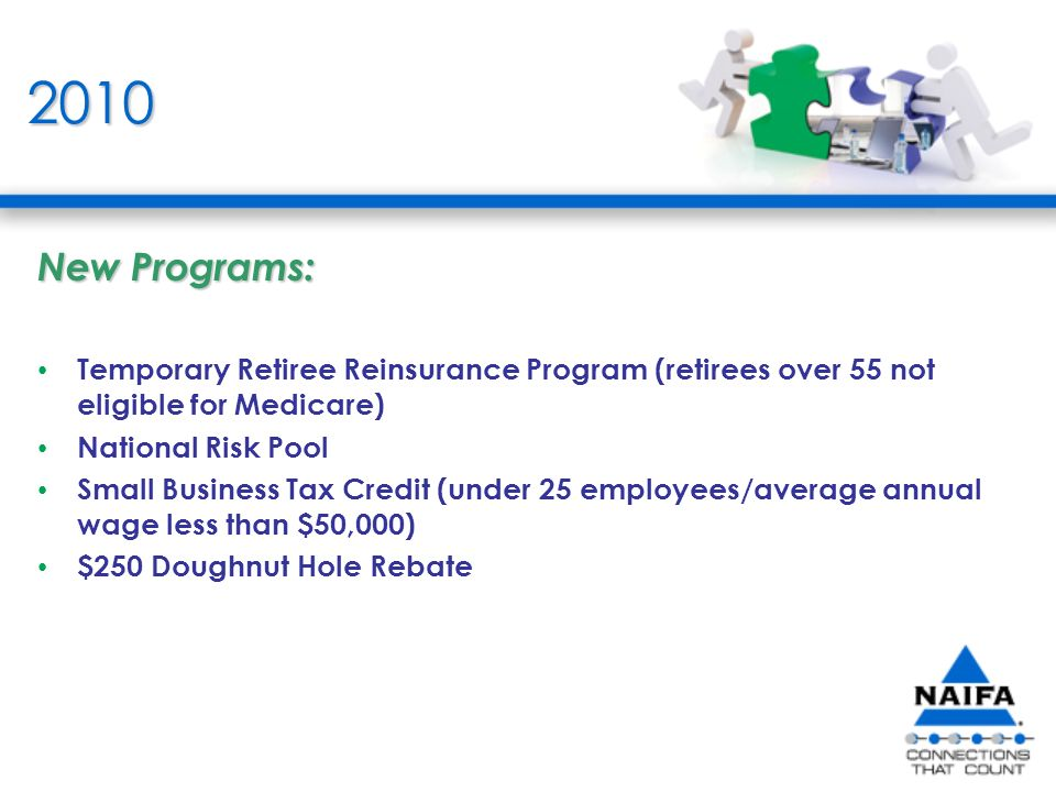 2010 New Programs: Temporary Retiree Reinsurance Program (retirees over 55 not eligible for Medicare) National Risk Pool Small Business Tax Credit (under 25 employees/average annual wage less than $50,000) $250 Doughnut Hole Rebate