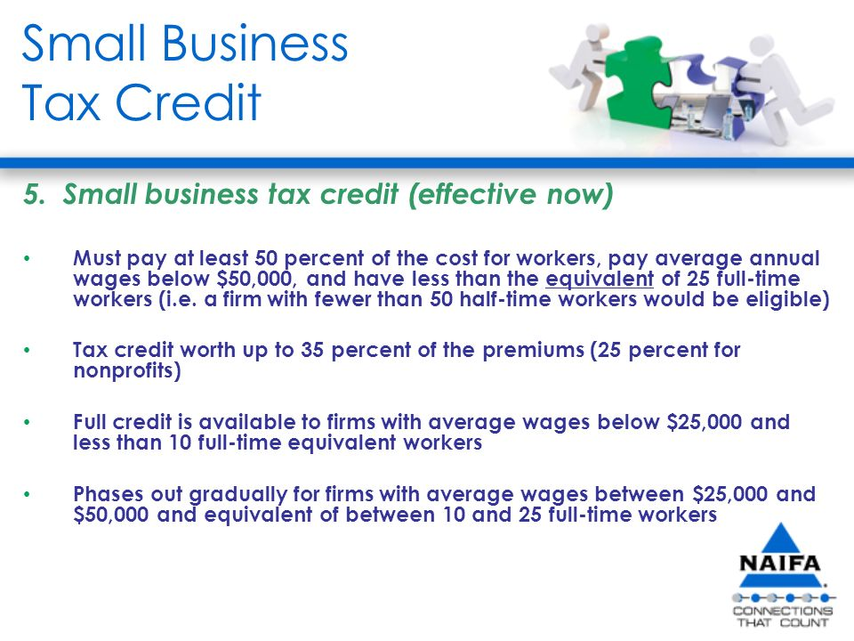 Small Business Tax Credit 5.