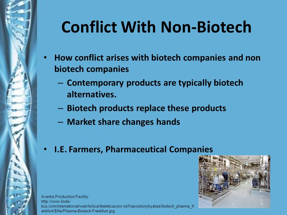 Conflict With Non-Biotech How conflict arises with biotech companies and non biotech companies – Contemporary products are typically biotech alternatives.