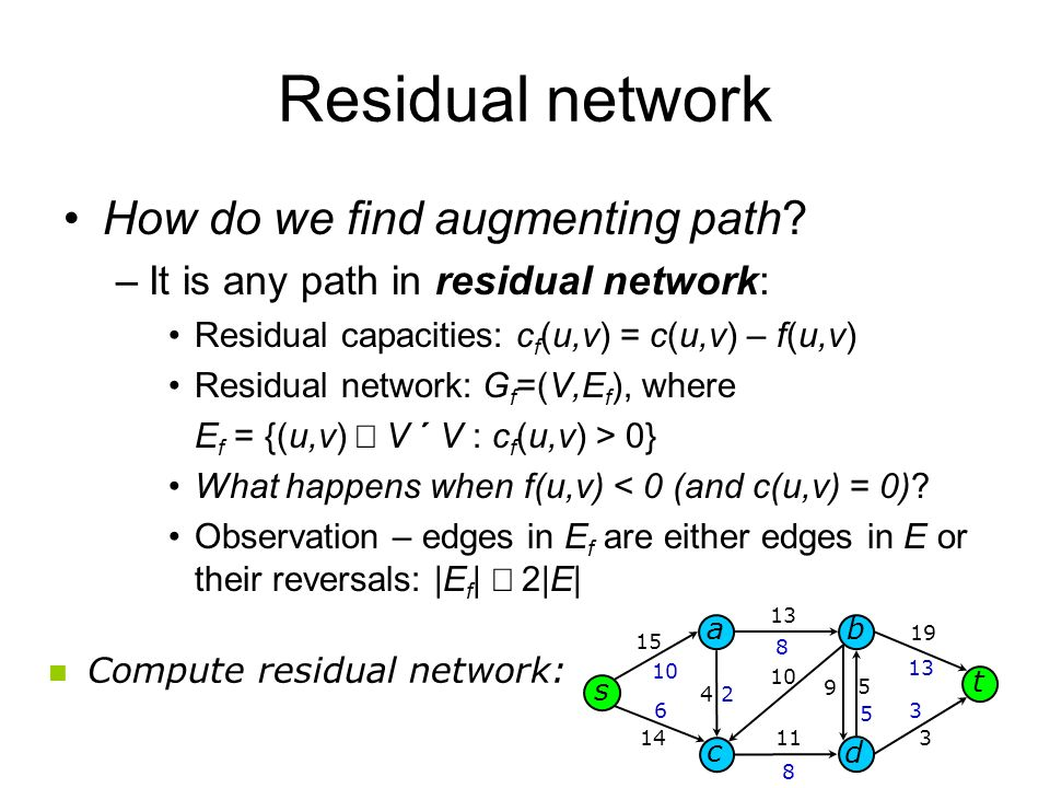 Residual network How do we find augmenting path.