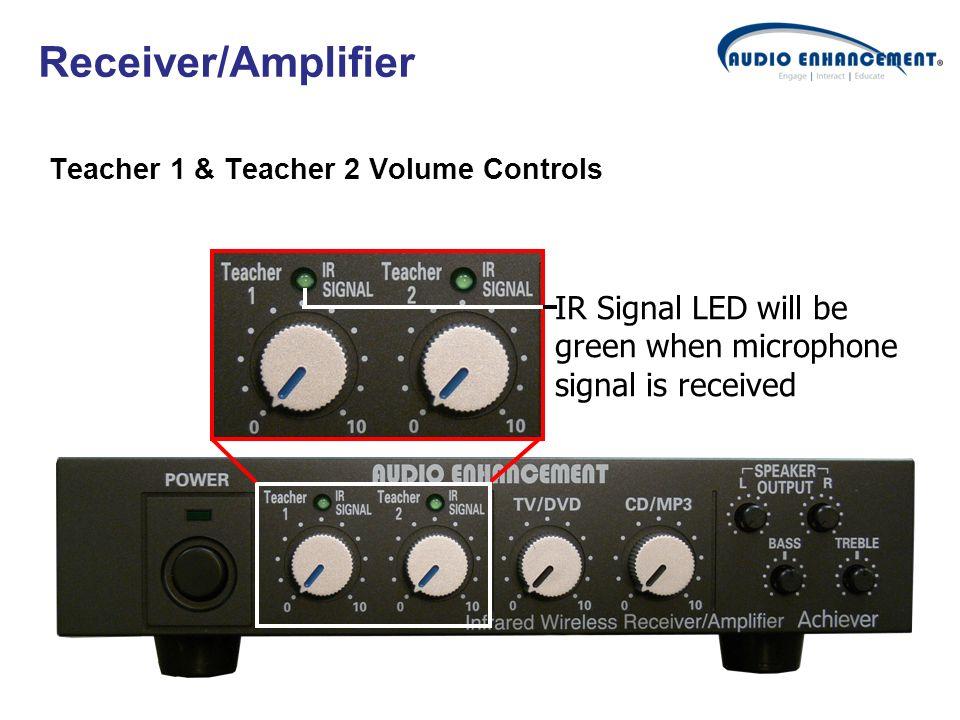 Receiver/Amplifier Teacher 1 & Teacher 2 Volume Controls IR Signal LED will be green when microphone signal is received