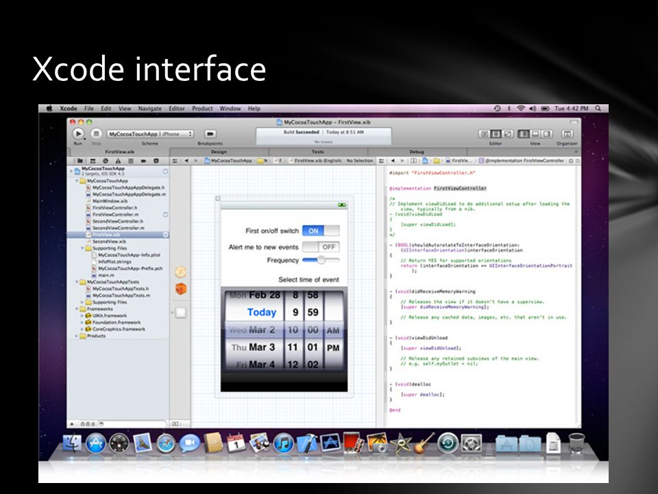Xcode interface