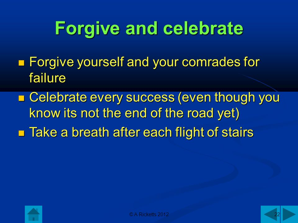 © A Ricketts 201222 Forgive and celebrate Forgive yourself and your comrades for failure Forgive yourself and your comrades for failure Celebrate every success (even though you know its not the end of the road yet) Celebrate every success (even though you know its not the end of the road yet) Take a breath after each flight of stairs Take a breath after each flight of stairs