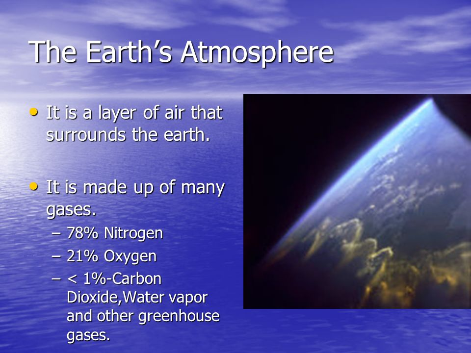 The Earths Atmosphere It is a layer of air that surrounds the earth. It is a layer of air that surrounds the earth. It is made up of many gases. It is